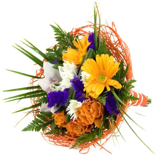 Superb Combination of Vivid Flowers in Orange N White Tones