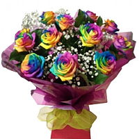 Stunning Arrangement of 12 Rainbow Shade Roses