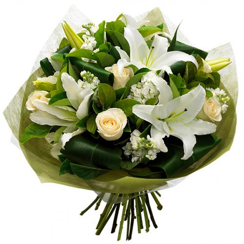 Passionate Selection of White Flowering Bouquet