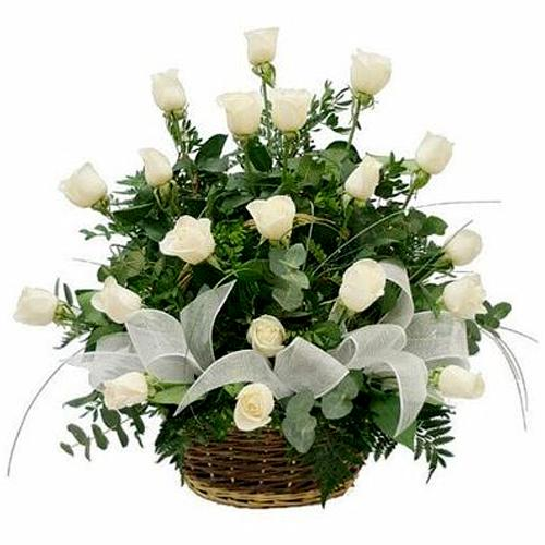 Extravagant Basket full of 18 White Roses