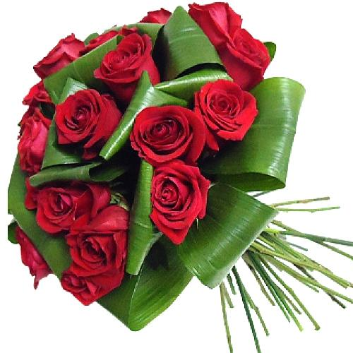 Clustered 18 Red Roses Bouquet