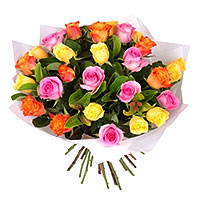Fresh Two and 30 Mixed Roses Bouquet