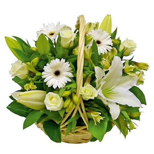 Blooming White Mixed Flower Basket