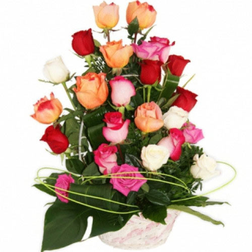 Luxurious 25 Colorful Roses Basket