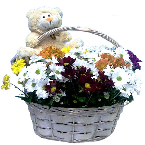 Eye-Catching Flower N Teddy Bear Combo Pack