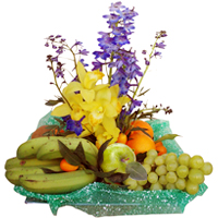 Freshly Harvested Fruit Basket with Flowers