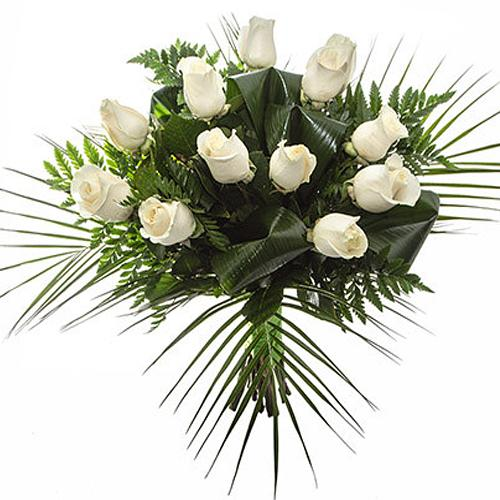 Magical Arrangement of 12 Ornate White Roses
