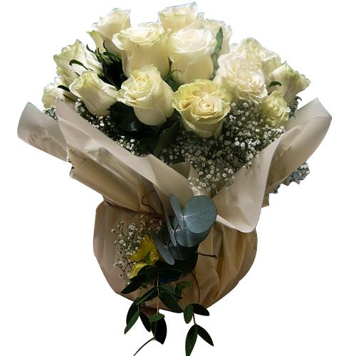 Colorful Bunch of Thirty White Roses