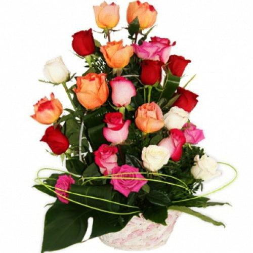 Classic Basket of 25 Colorful Roses