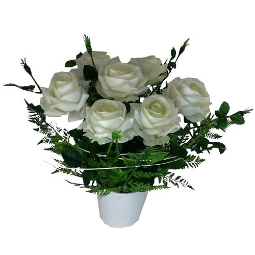 Lovely Arrangement of Large White Roses in White Ceramic Pot