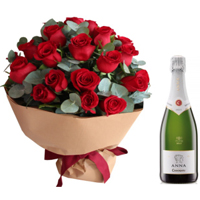 Carefully-Selected 2 Dozen Red Roses Bouquet N Cava Brut