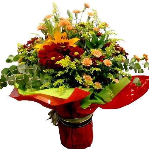 Beautiful Colorful Floral Selection in Glass Vase