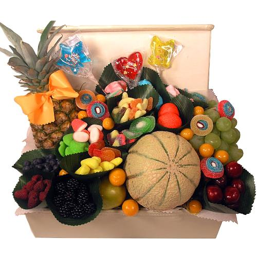 Garden-Fresh Gift Basket of Fresh Fruits with Chocolates