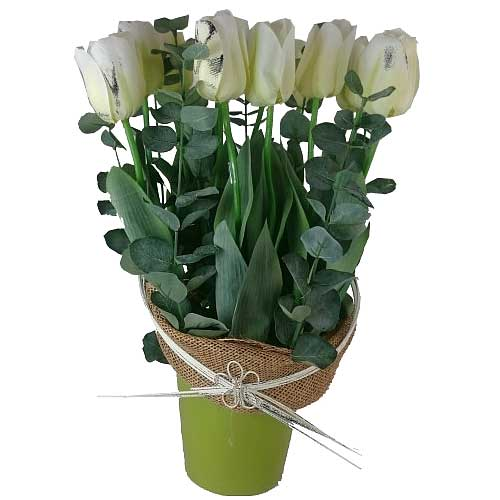 Delicate Assemble of Artificial White Tulips in Green Ceramic Base with Sackcloth