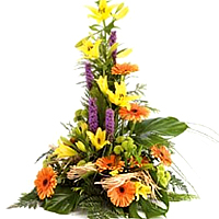 Brilliant Harvest Blooms Mixed Flower Pyramid Shape Arrangement
