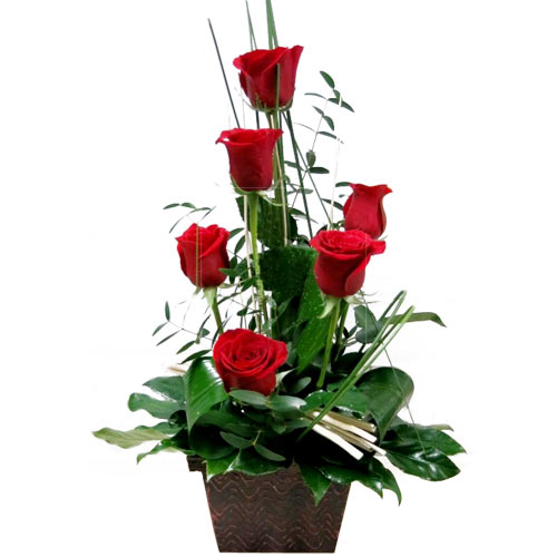Cherished Bring on the Cheer 6 Red Roses Basket