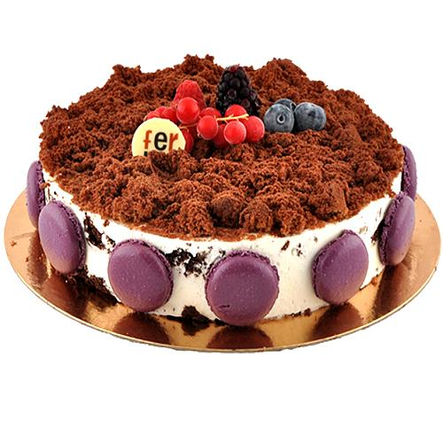 Garnished Cream and Brownie Cake<br>