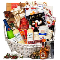 Festive Gift Basket of Wine And Goodies