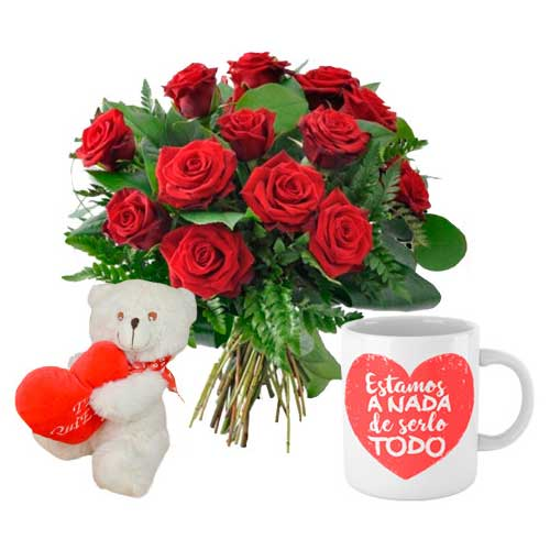 Lovely Red Roses Bouquet, Teddy N Mug Gift Combo for V-Day �<br>