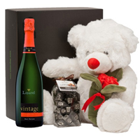 Triple V-day Selection Wine, Chocolates N Teddy Combo