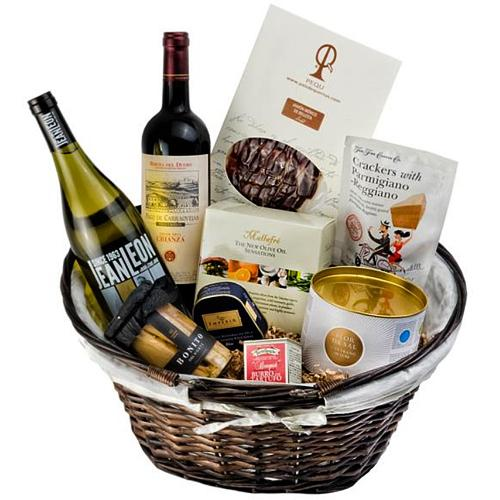 Gourmet Gift Hamper with Premium Red Wine