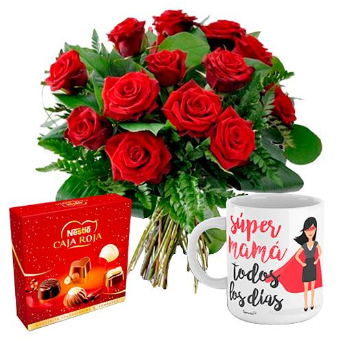 Special Moms Day Bouquet of Twelve Red Roses with Chocolate Box