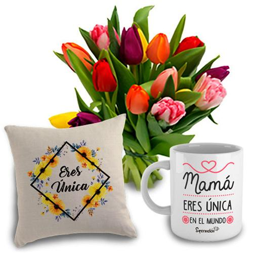Classic Arrangement of 15 Tulips with Cup and Cushion<br><br>