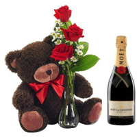 Magnificent Combo of 1 Bottle Champagne with Bunch of 3 Red Roses N Teddy